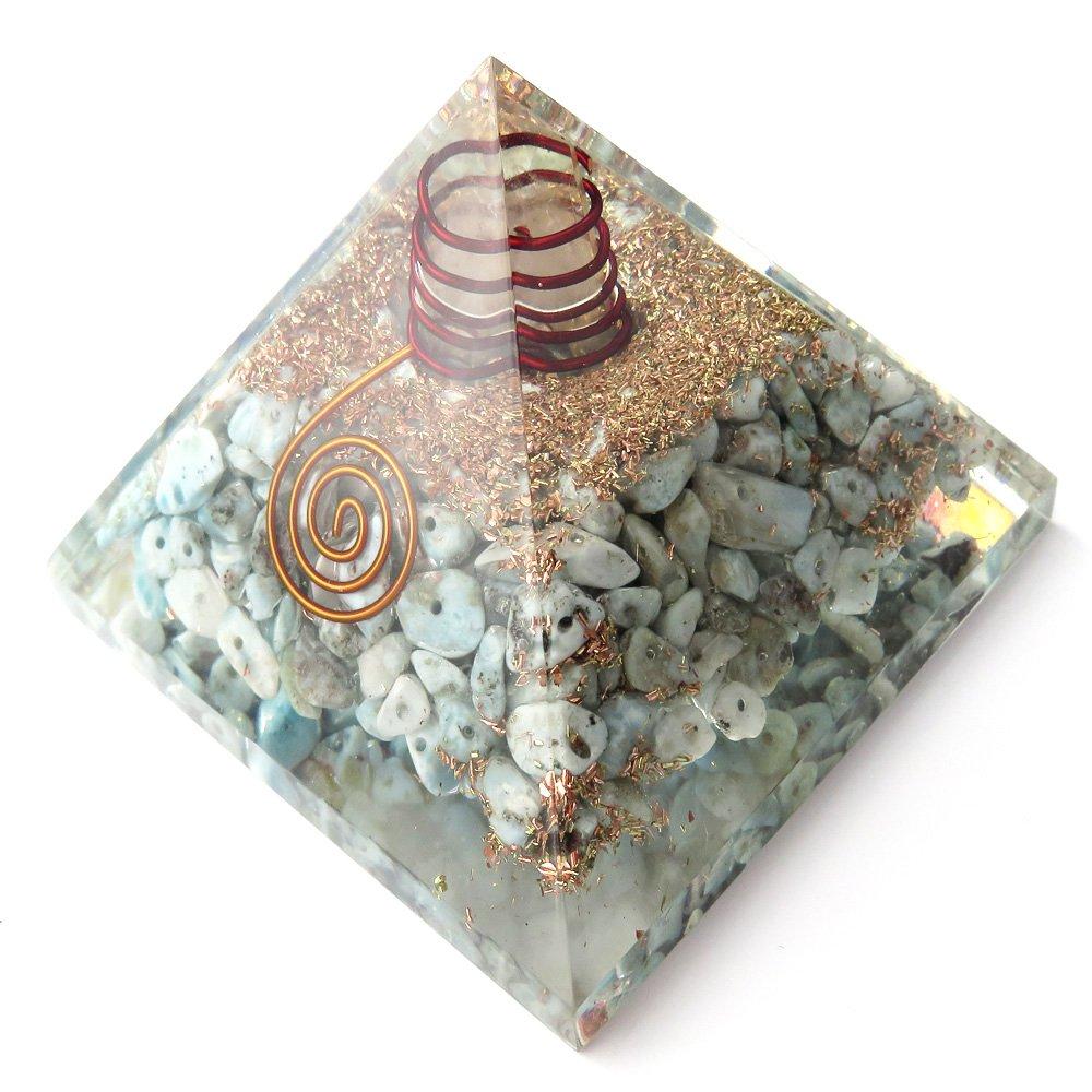 天然石使用 水晶単結晶入り オルゴナイト ピラミッド 大人気 スピリチュアル グッズ 幅約65-70mm前後 (ラリマー) B0784BBBVW ラリマー ラリマー