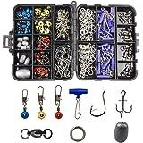 Fishing Accessories Tackle Kit Box Sinker Weights, Crossline Barrel Swivel, Rolling Swivel Snap, Jig Hooks, Sinker Slides, Fishing Bead with Tackle Box