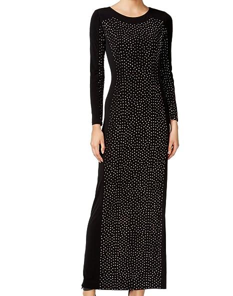 Calvin Klein Womens Embellished Long Sleeves Evening Dress Black 2