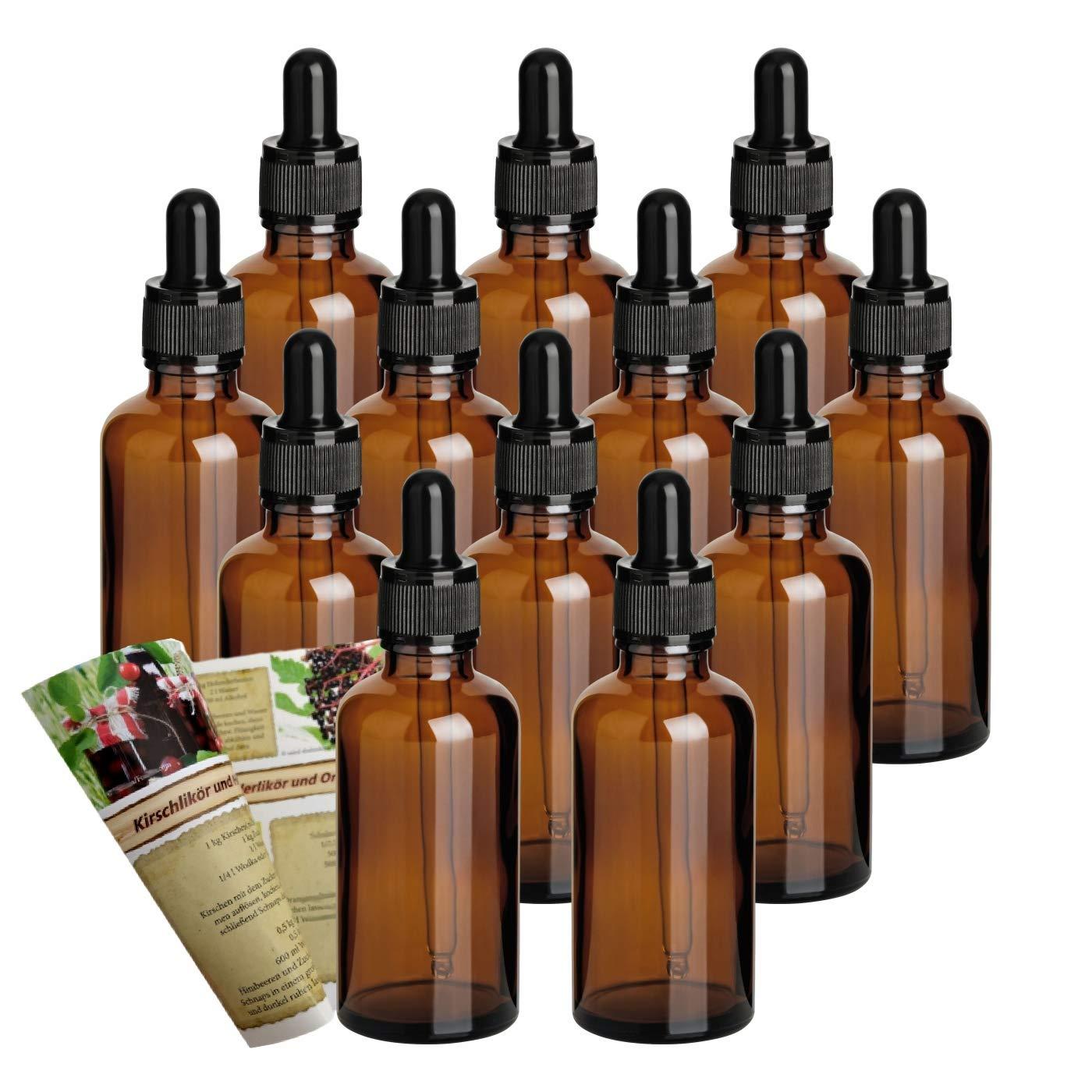gouveo Set vacío Pipettenflasche, Tropfflasche de cristal marrón incl. Folleto de descuento de botellas, 50 ml, 12
