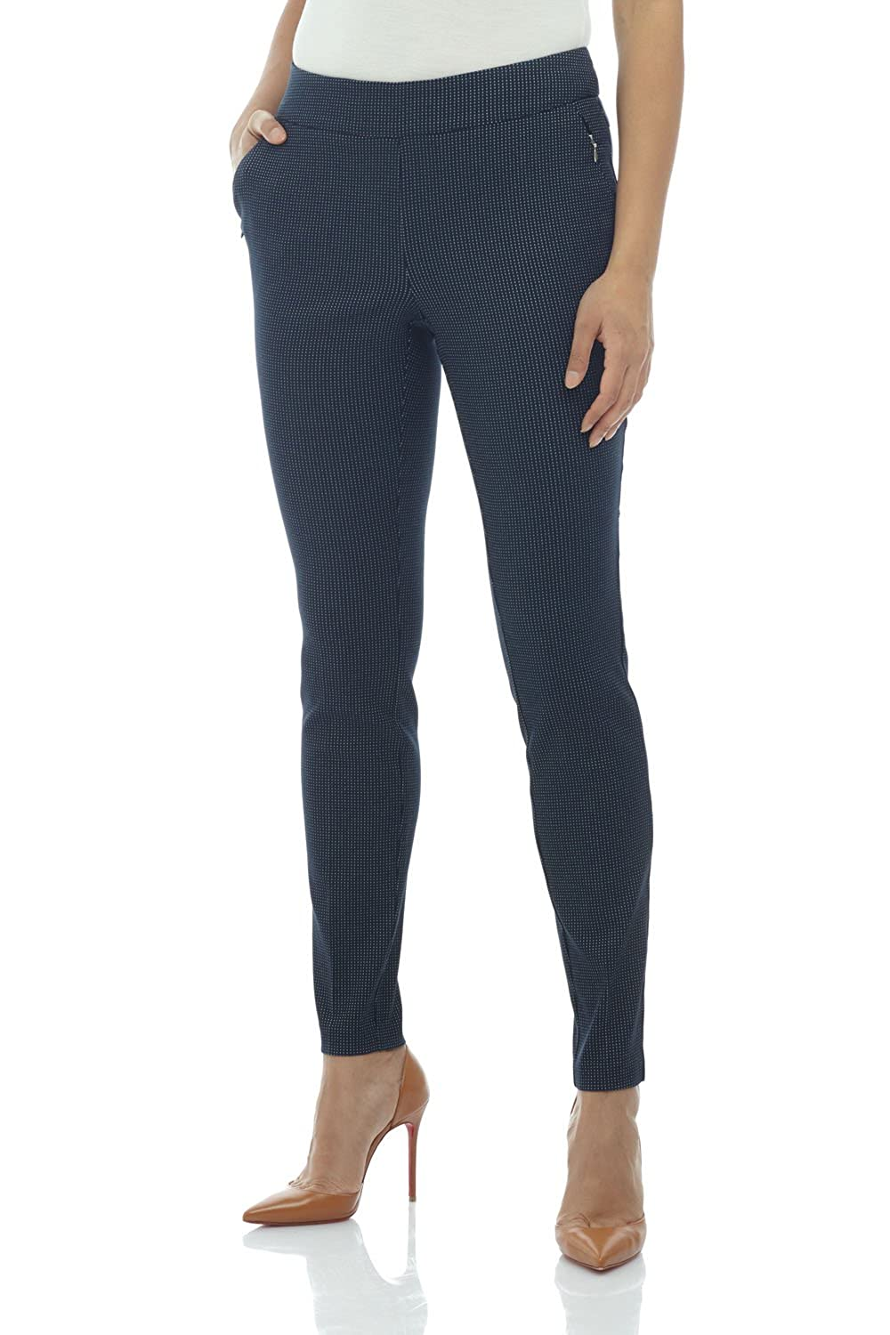 Navy White Dotted Lines Rekucci Women's Ease in to Comfort Modern Stretch Skinny Pant w Tummy Control