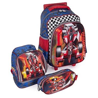 d21ffdbe8 Kit Escolar Mochila Infantil com Rodinhas + Lancheira + Estojo Carro Swiss  Move Team Wheels 3d