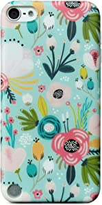J.west Case for New iPod Touch 7, iPod Touch 6th Generation, iPod Touch 5 Floral Flowers Print Matte Cute Clear Soft Silicone Cover for Girls Women Flex Slim Pattern Design Drop Protective Case(Mint)