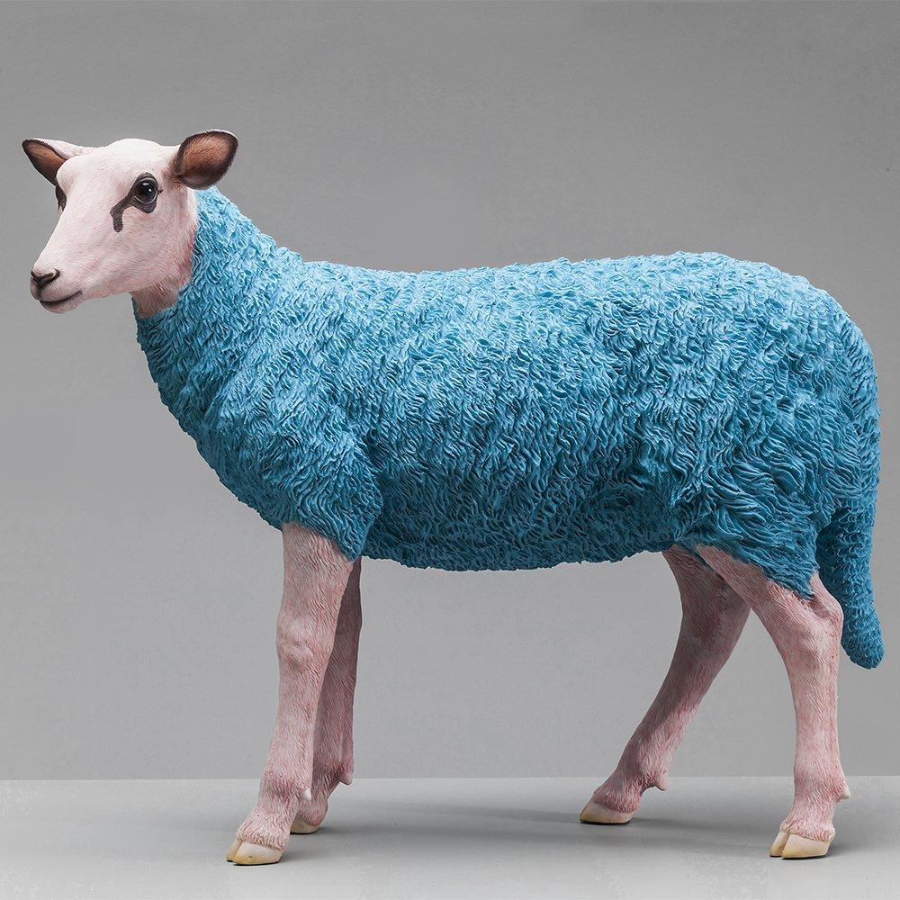 21 x 49 x 59,5 cm Colore: Azzurro KARE Deco Statuetta a Forma di Pecora