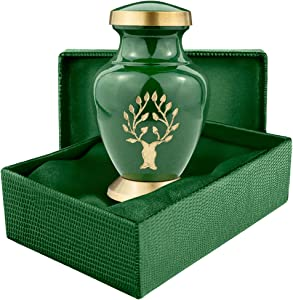 Tree of Life Small Mini Keepsake Urn for Human Ashes - Qnty 1 - Small, Beautiful, Classic Green and Gold - Find Comfort and Peace with This Quality and Thoughtful Urn - Includes Satin Lined Case