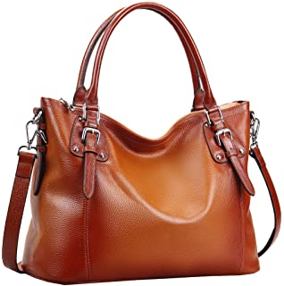 Amazon.com: Heshe Vintage Womens Leather Handbags Shoulder Handbag ...