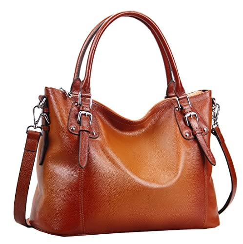 Heshe Womens Genuinne Leather Handbags Tote Top Handle Bag Shoulder Bag for Women Crossbody Bags Ladies Designer Purse On Sale (SSorrel)
