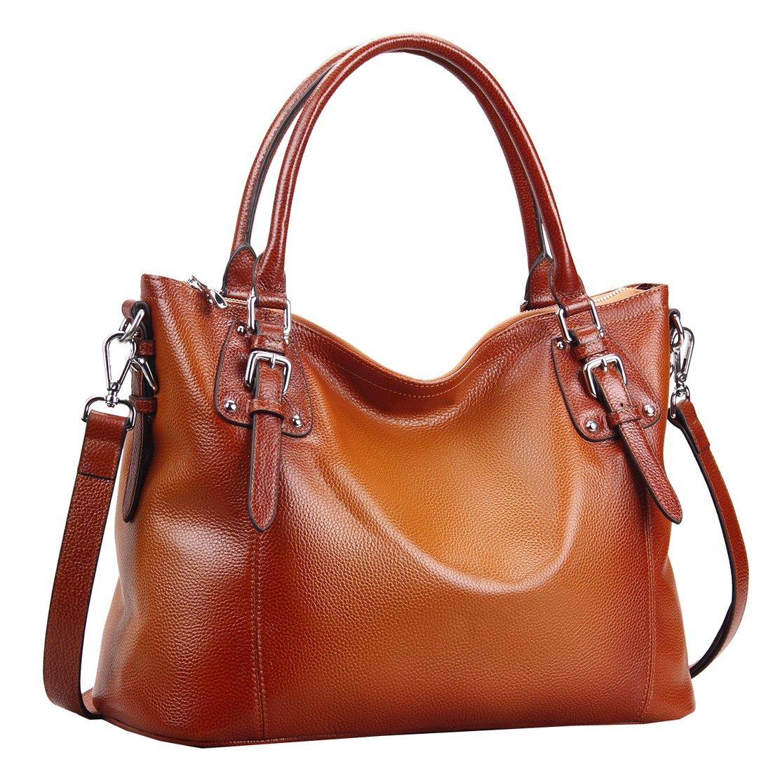 Heshe Women's Leather Handbags Shoulder Tote Bag Top Handle Bags Satchel Designer Ladies Purses Cross-body Bag (LSorrel)
