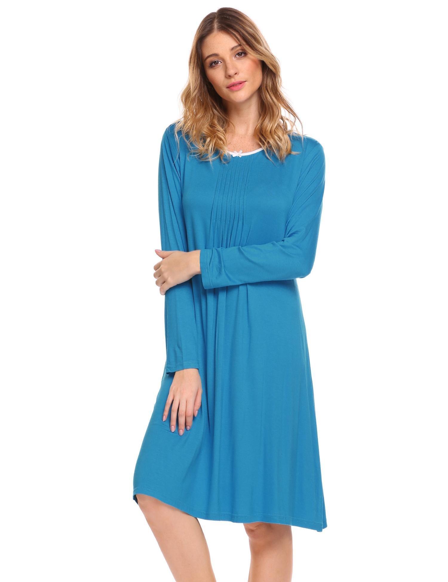 MAXMODA Women's comfort sleepwear night dresses sleepwear Blue L