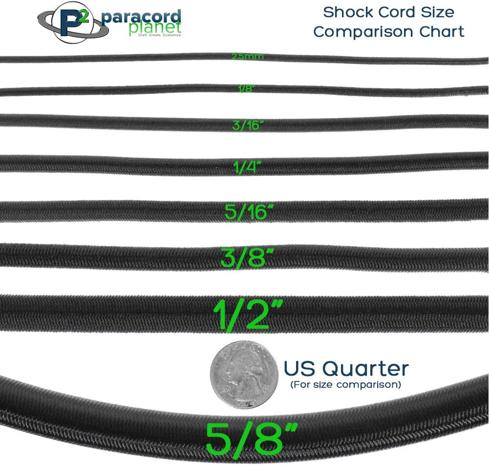 """5//8 3//8 5//16 1//4 1//2 inch PARACORD PLANET Crafting Stretch String 10 25 50 /& 100 Foot Lengths Made in USA 3//16 Elastic Bungee Nylon Shock Cord 2.5mm 1//32 1//16 1//8/"""""""