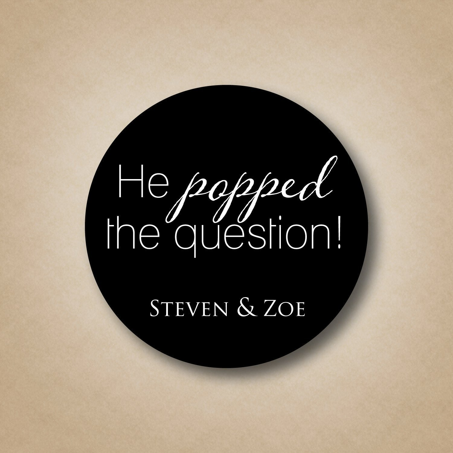 He Popped the Question Engagement Stickers