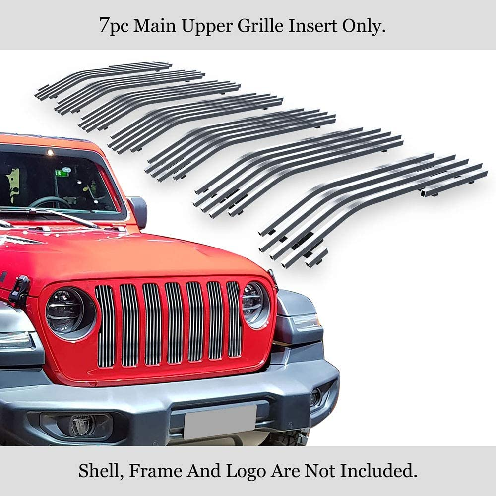 APS Compatible with 2018-2020 Jeep Wrangler Main Upper Stainless Steel Polished Chrome Horizontal Billet Grille Insert N19-S14466J