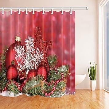 nyngei Weihnachten Vorhänge Dusche für Badezimmer rot Weihnachten ...