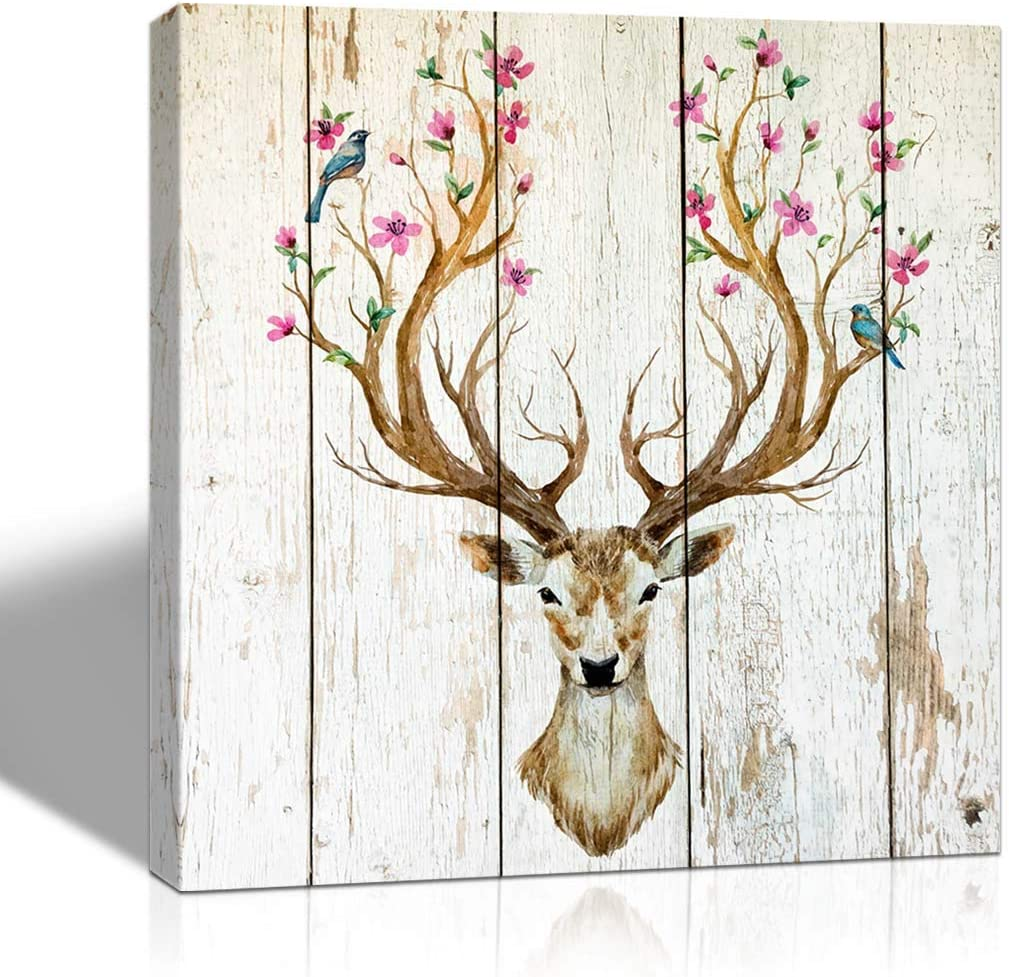 The Melody Art deer, big antlers, flowers and birds on the horns wall art bathroom accessories decoration for home bedroom living room 16x16 in 1 PCS framed