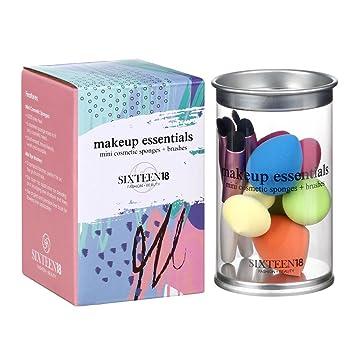 sixteen18 tamaño de viaje juego de cepillo de maquillaje Essentials – 5 Mini belleza batidoras contorno