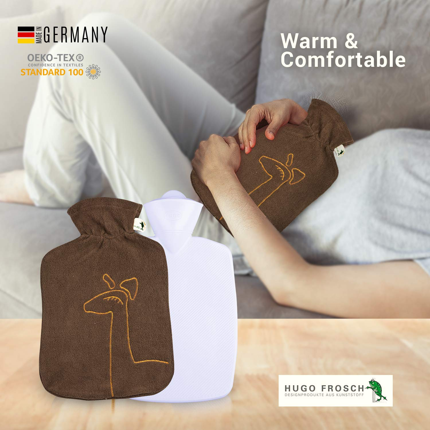 Hot Water Bottle with Cover - Hot Cold Pack Made of Burst Resistant Thermoplastic with Fleece Sleeve Helps Relieve Muscle Aches & Pains, Menstrual Cramps, Flu Symptoms (1.8 L Brown Deer Application) by Hugo Frosch