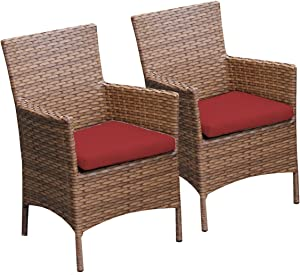 TK Classics 2 Piece Laguna Dining Chairs with Arms, Terracotta