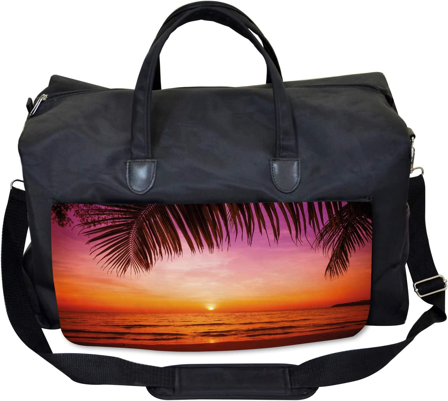 Large Weekender Carry-on Coconut Palm Tree Leaf Ambesonne Tropical Gym Bag