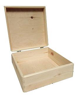 Nochebuena cajas caso almacenamiento caja de madera sin pintar Plain decorativo: Amazon.es: Hogar