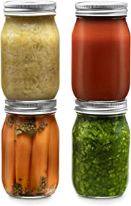 Glass Regular Mouth Mason Jars, 16 Ounce Glass Jars with Silver Metal Airtight Lids for Meal Prep, Food Storage, Canning, Drinking, Overnight Oats, Jelly, Dry Food, Spices, Salads, Yogurt (4 Pack)