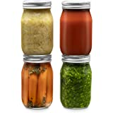 Glass Regular Mouth Mason Jars, 16 Ounce (4 Pack) Glass Jars with Silver Metal Airtight 1 Piece Lids for Meal Prep, Food…