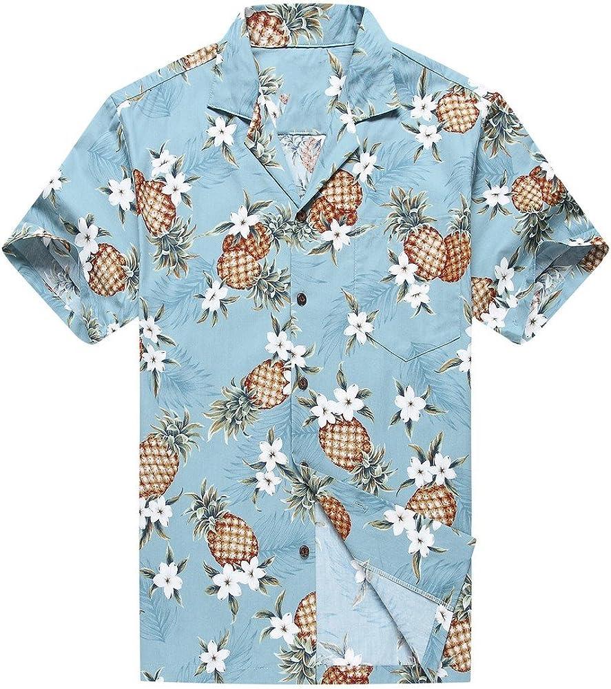 Hecho en Hawaii Camisa Hawaiana de los Hombres Camisa Hawaiana Piña Dorada en Vendimia Azul: Amazon.es: Ropa y accesorios
