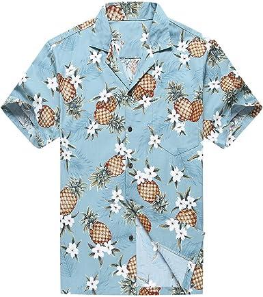 Hecho en Hawaii Camisa Hawaiana de los Hombres Camisa Hawaiana Piña Dorada en Vendimia Azul