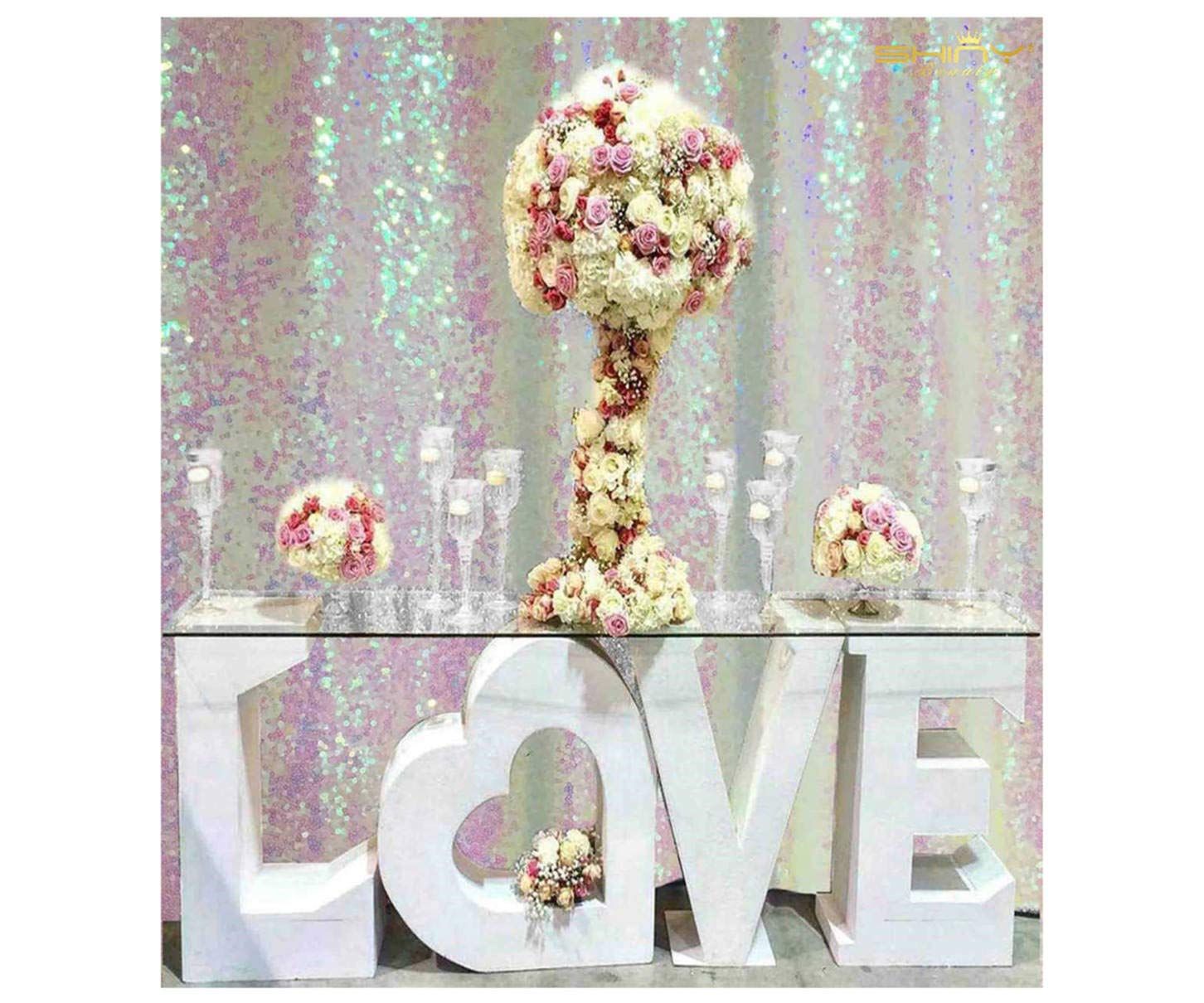 ShinyBeauty Sequin Background Best Choice 5FTx6FT Transparent White Backdrop, Ceremony Backdrop, Photo Backdrop,Sequin Backdrop, Draping, Wedding Backdrop ONE Day to Ship!!