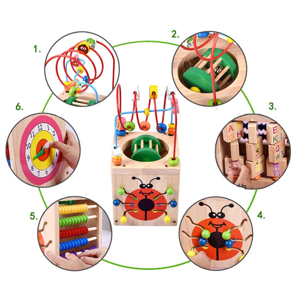 TechCode Learning Toys Wooden, Wooden Bead Maze Multi-Function Wooden Math Around Bead Maze Letters Recognition Abacus Clock Learning Educational Toy Eco-Friendly for Kids