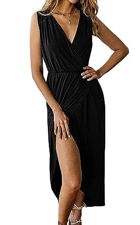 Angashion Women s Sexy Sleeveless Deep V Neck Cross Wrap Dress Split Front  Long Maxi Dress Black 242de93ce