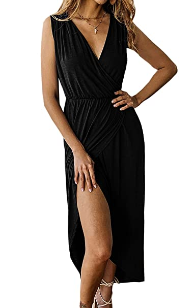 be61fcb0b3a Angashion Women s Sexy Sleeveless Deep V Neck Cross Wrap Dress Split Front Long  Maxi Dress Black