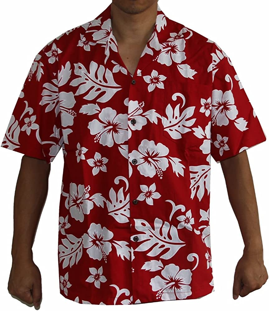 27f9b19d Made in Hawaii! Men's Hibiscus Flower Classic Hawaiian Shirt Collection (M,  RED/