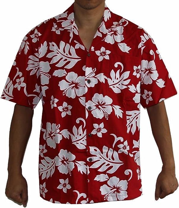 66c3785d155c3 Alohawears Clothing Company Made in Hawaii! Men s Hibiscus Flower Classic Hawaiian  Shirt Collection (S
