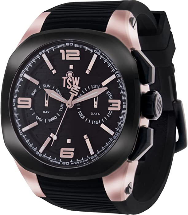 Amazon.com: Technosport (TSW) TS-100-PP6 Unisex Black Swiss Day/Date Watch Silicone Strap Luminous Dial Markers: Technosport: Watches