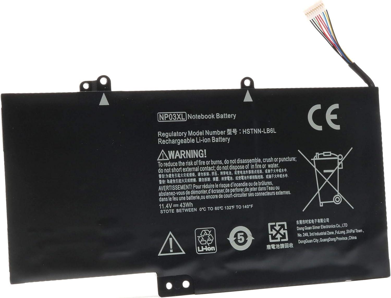 VUOHOEG 11.4V 43Wh NP03XL Laptop Battery Replacement for HP Pavilion X360 13-A010DX 13-a013cl 13-A110DX; HP Envy 15-u010dx 15-u011dx 761230-005 760944-421 HSTNN-LB6L