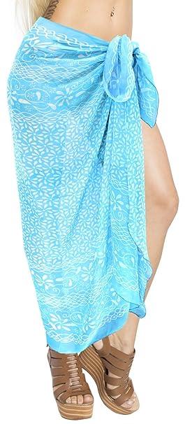 "727c82283a LA LEELA Sheer Chiffon Cover Up Swim Wrap Pareo Sarong Printed  78""X39"" Blue_1012"