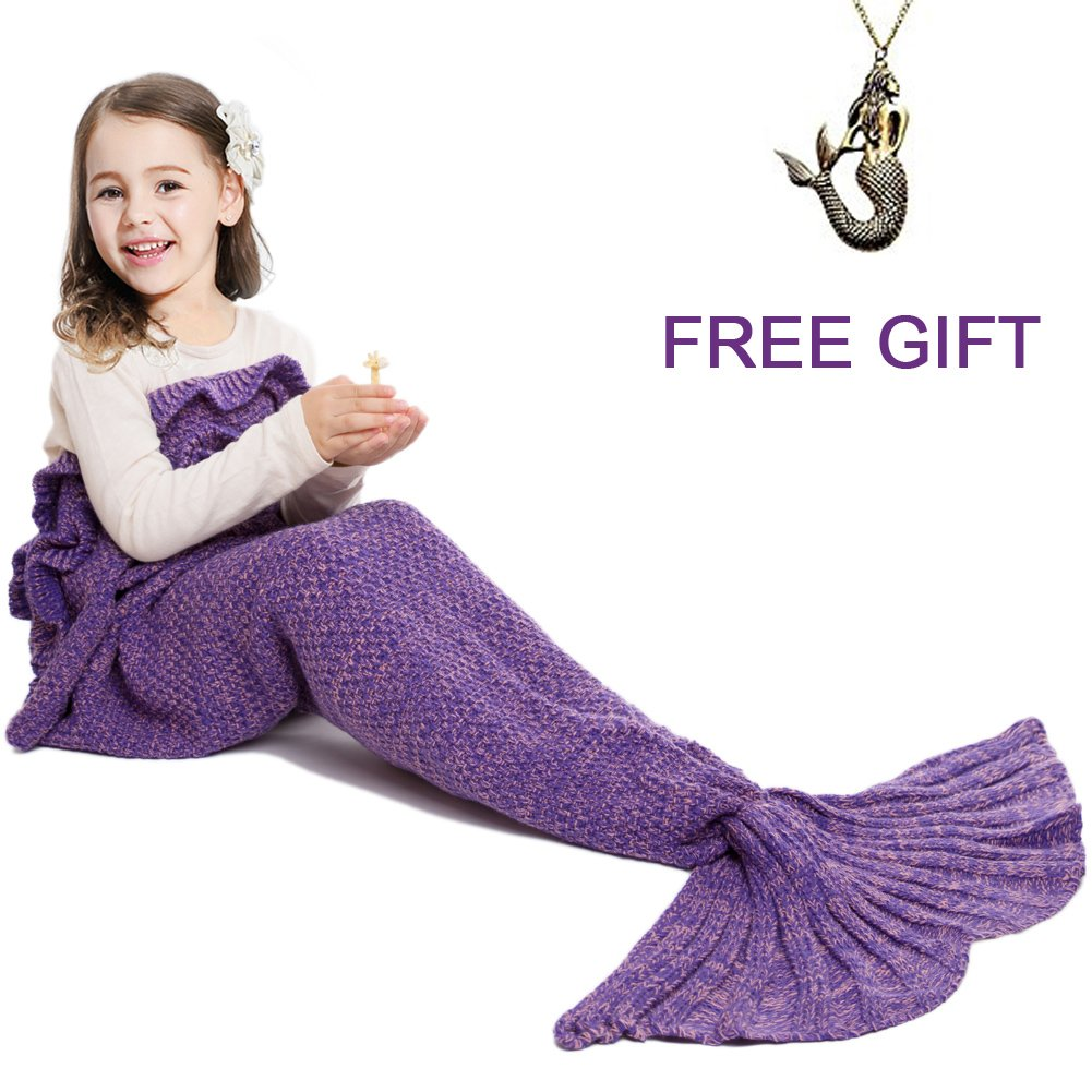 JR.WHITE Mermaid Tail Blanket for Kids Hand Crochet Snuggle Seasons Seatail Sleeping Bag (Purple)