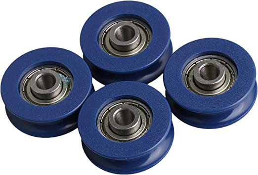 4x U-Type Groove Guide Pulley 2.5.5x0.5x0.88cm for Furniture Hardware Accessorie