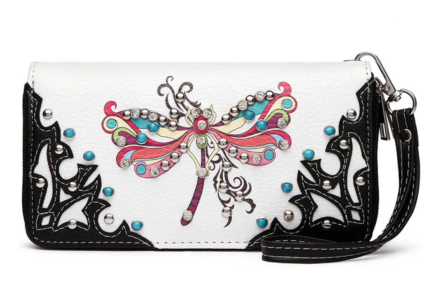 Western Colorful Dragonfly Printed Wristlet Clutch Wallet Pack Small Pouch Coin Purse (Black)