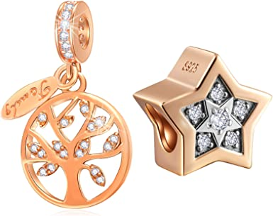 Amazon Com Rose Gold Charms Set Fits Pandora Diy Bracelet Bright Star Charms And Family Tree Of Life Charms Jewelry Set In 925 Sterling Silver Best Gifts For Family Mother Day Christmas Clothing