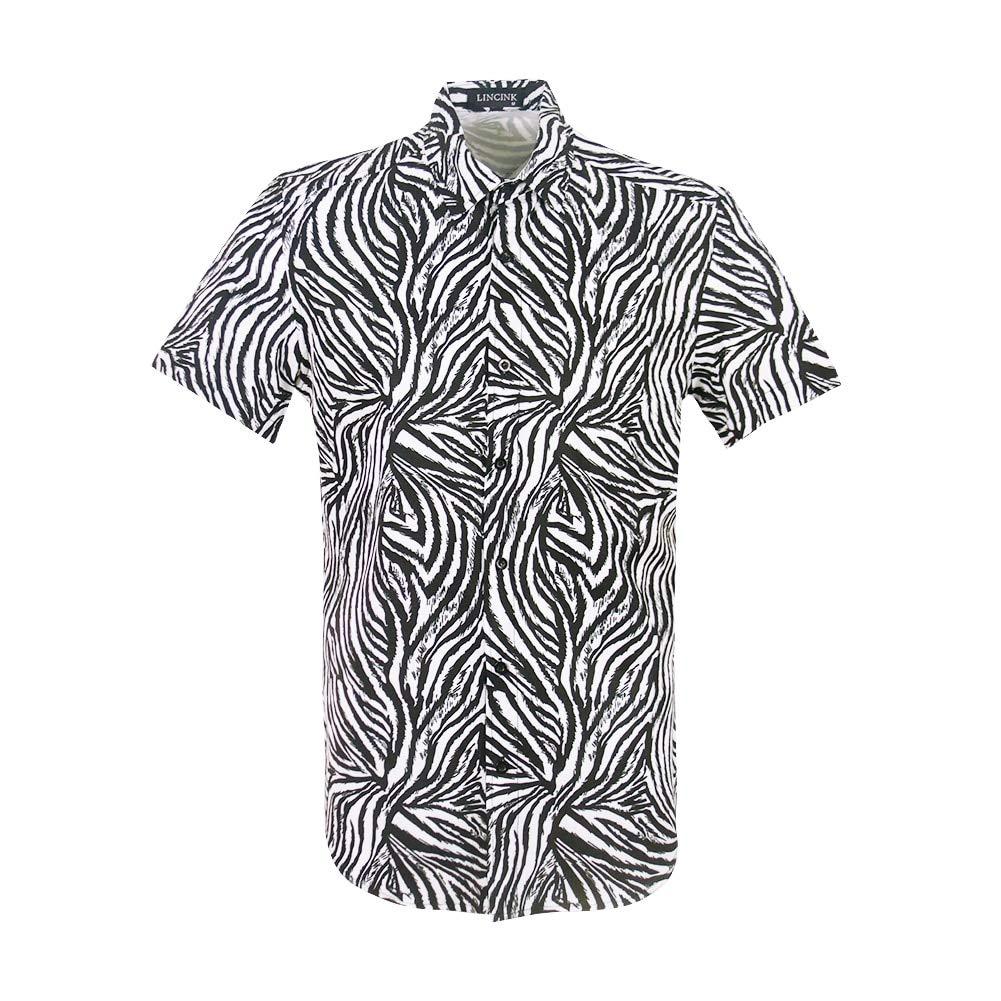 Mens Zebra 3D Creative Print Shirt Vintage Retro Button Down Casual Short Sleeve Disco Shirt Hawaiian Shirt White by LINCINK