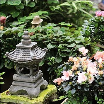 NGXL Giardino Solare Esterna di Stile Giapponese Zen Solari Luci da Giardino Lanterna Pagoda Luce della Lampada Statua Casale Balcone Creativo Decorazione della Lampada Prova di Gelo,Grigio
