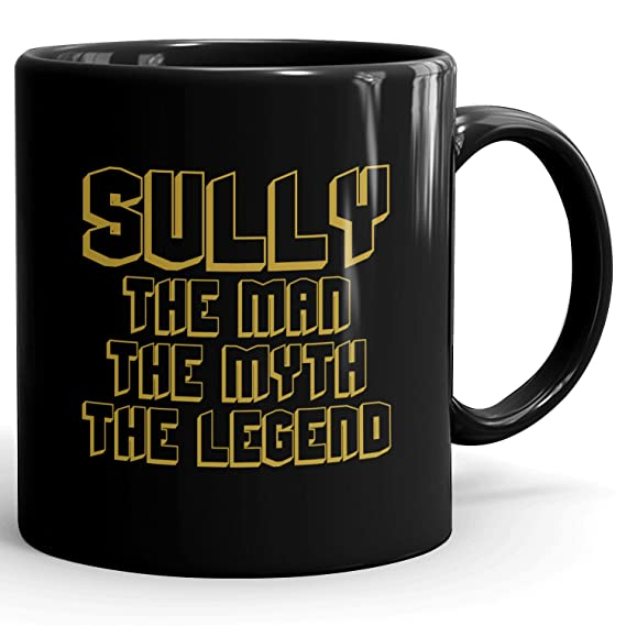 Amazon.com: MugMax The Man the Myth the Legend D5 Ceramic Coffee Mug Personlized Sully Black 11 oz: Kitchen & Dining