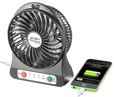 USB+Batterie Ventilator Tischventilator Tisch Fan Aufladbar 3 Stufen Regelbar