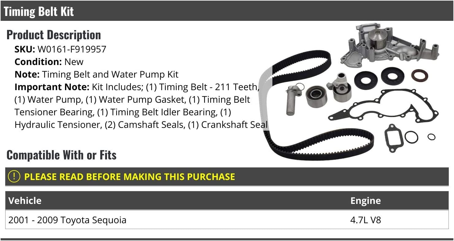Timing Belt and Water Pump Kit Compatible with 2001-2009 Toyota Sequoia 4.7L V8