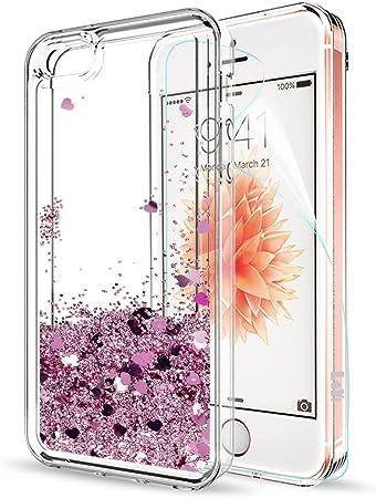 LeYi Custodia iPhone 5S / iPhone 5 / iPhone SE/iPhone SE 2 Glitter Cover con HD Pellicola,Brillantini Trasparente Silicone Gel Liquido Sabbie Mobili ...
