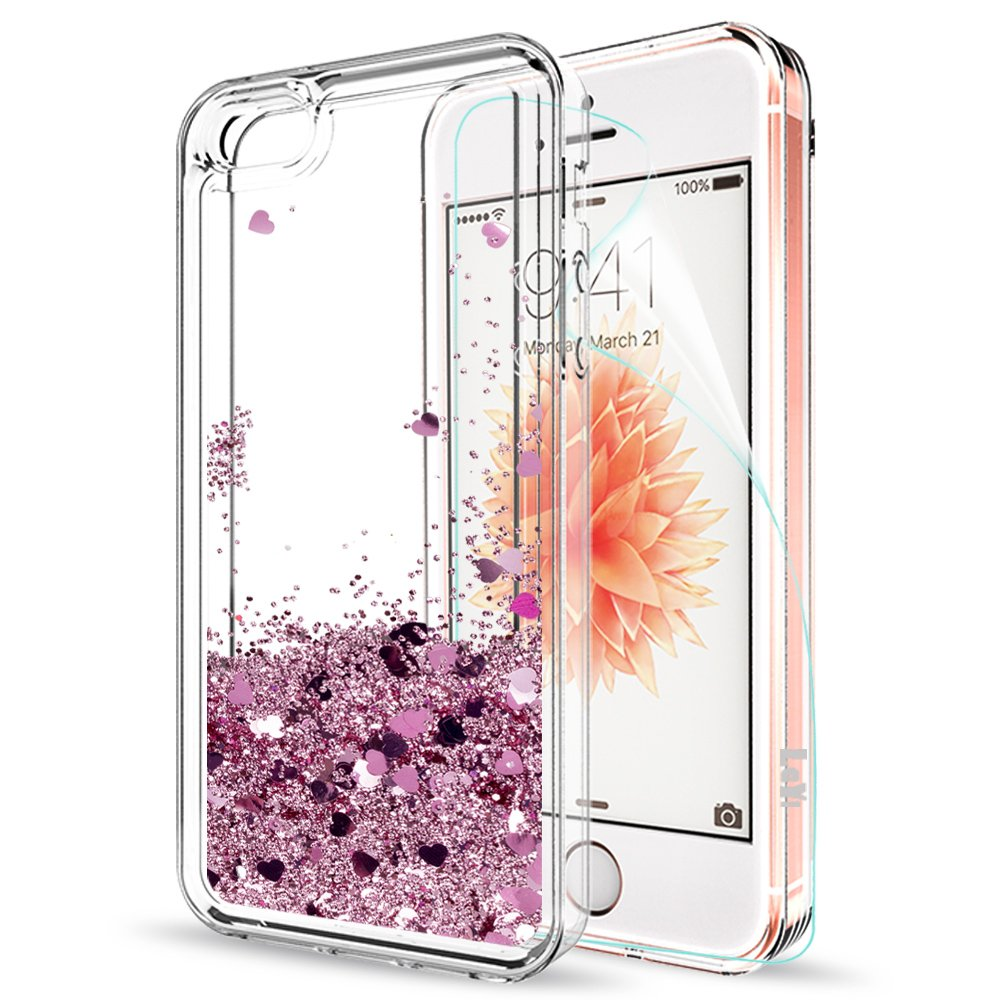 LeYi Funda iPhone SE / 5S / 5 Silicona Purpurina Carcasa con HD Protectores de Pantalla,Transparente Cristal Bumper Telefono Gel TPU Fundas Case Cover para ...