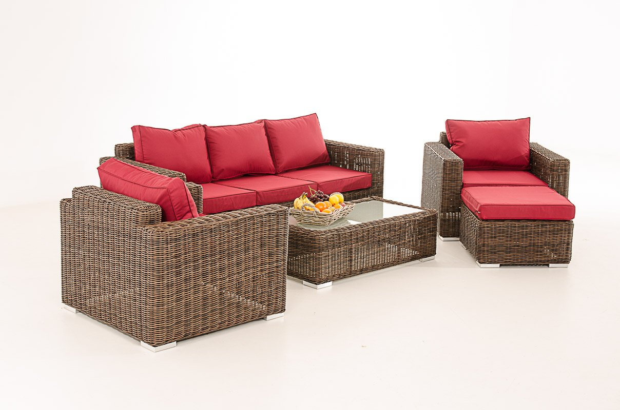 Mendler 3-1-1 Gartengarnitur CP053 Sitzgruppe Lounge-Garnitur Poly-Rattan ~ Kissen rubinrot, braun-meliert