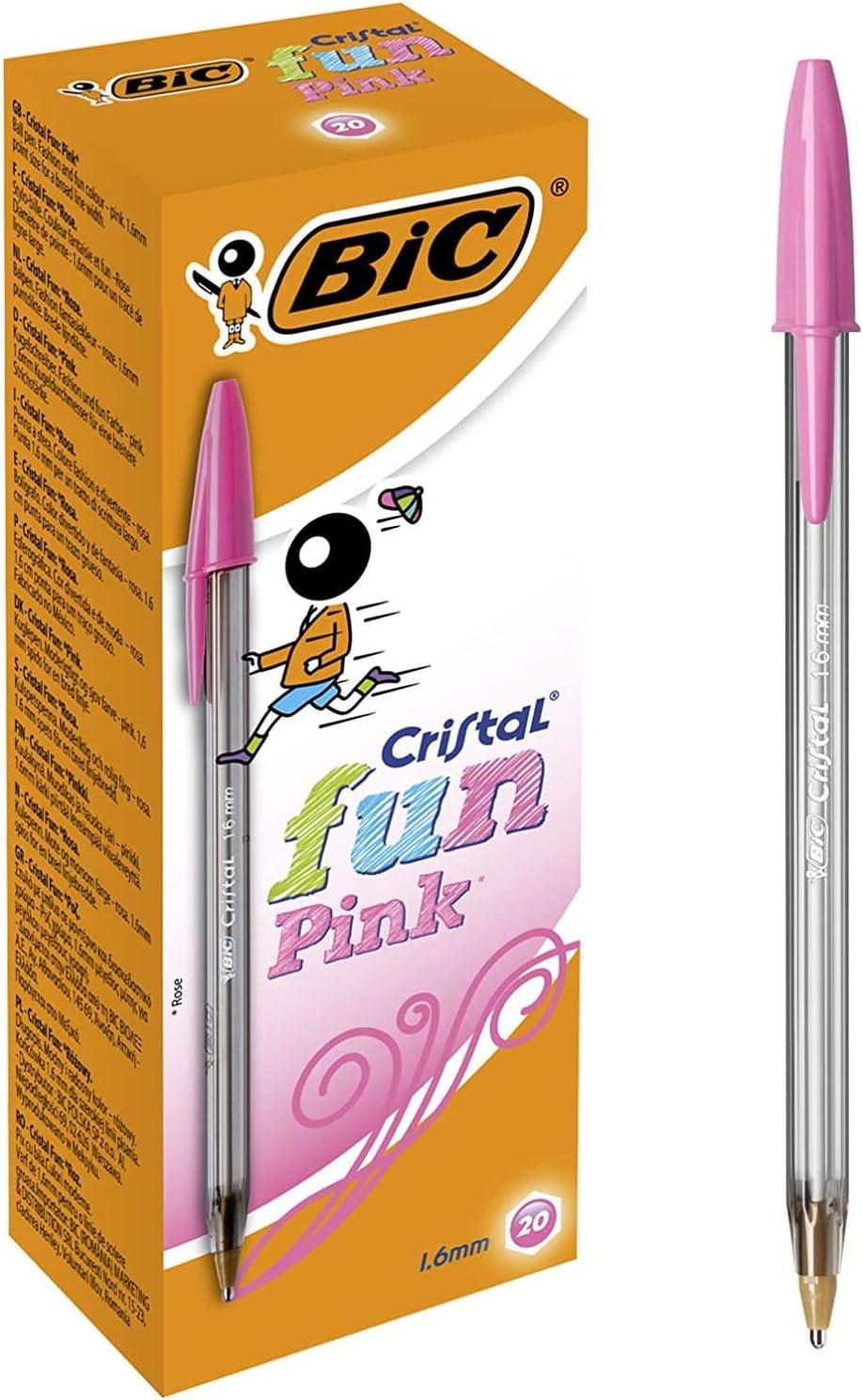 BIC Cristal Fun bolígrafos Punta Ancha (1,6 mm) – Rosa, Caja de 20 unidades: Amazon.es: Oficina y papelería
