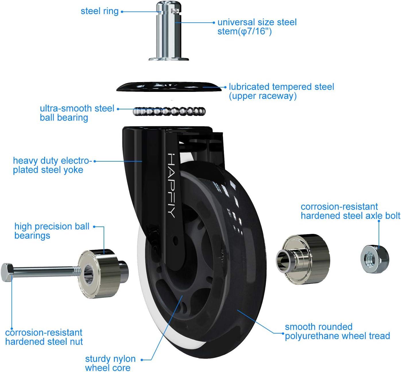 Capacit/é de Charge 250kg 5pcs Universelles Roues Pivotantes 11x22mm Roulement HAPFIY roulettes Chaise Bureau roulettes Replacement en Caoutchouc Ultra silencieuses pour sols durs et Tapis